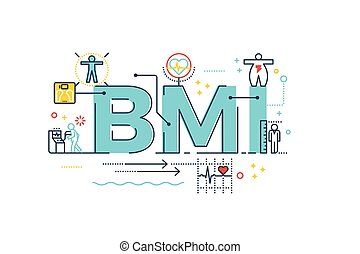 BMI : Body Mass Index word lettering typography design illustration with line icons and ornaments in blue theme