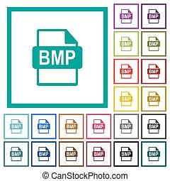 bmp, bestand, formaat, plat, kleur, iconen, met, kwadrant, lijstjes
