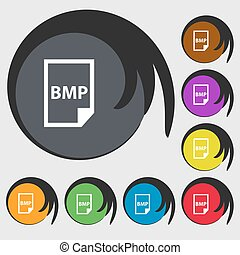 bmp, pictogram, teken., symbolen, op, acht, gekleurde, buttons., vector