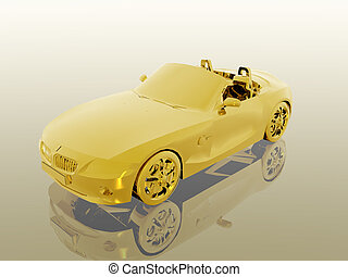 Bmw Z4 2.5 i golden sports car cabriolet. 3D illustration. Wealth concept. Clipping path, copy space.