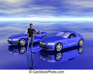 Bmw Z4 2.5 i sportscar with promotion model. - Bmw Z4 2.5 i...