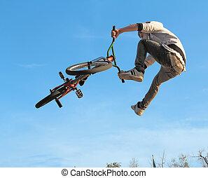 bmx, adolescente, ciclismo