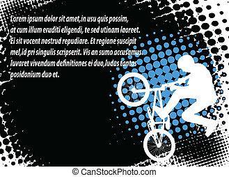 bmx, biciklista, -, elvont, háttér
