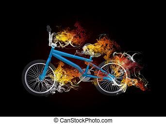 BMX bike in the colored smoke