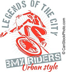 BMX bike - urban style, city life - vector illustration