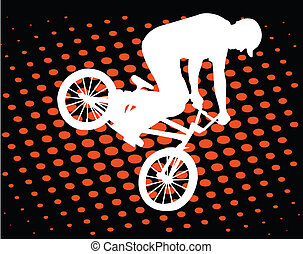 Bmx biker on the abstract background - vector
