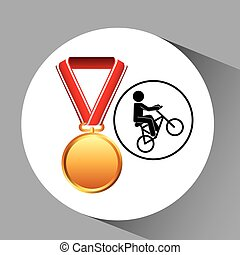 bmx cyclist medal sport extreme graphic