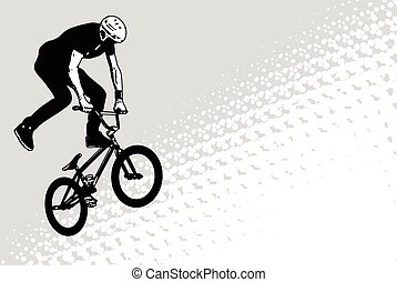 bmx cyclist sketch on abstract halftone background - vector