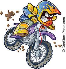 BMX Dirt Bike Motorcycle Rider Making an Extreme Jump and Splashing in the Mud