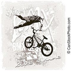 bmx, estilo, libre, extremo