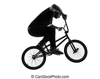 bmx, mann, silhouette, figur, akrobatisch