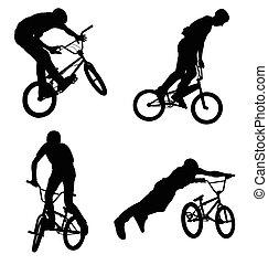 bmx, radfahrer, silhouetten