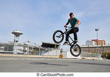 BMX Rider Doing Extreme Stunts