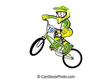 BMX rider isolated over white