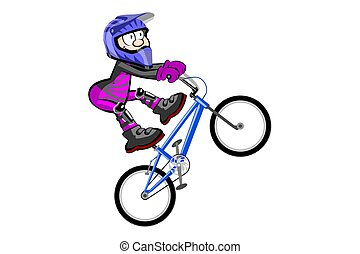 BMX rider isolated over white