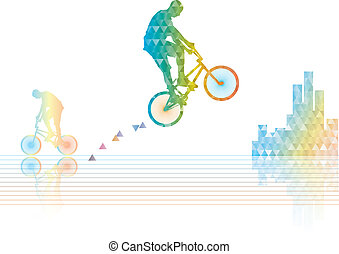 Bmx rider jump poligonal silhouette