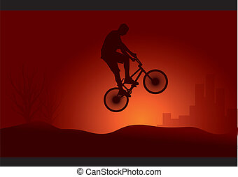 Bmx rider jump silhouette
