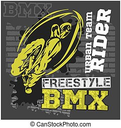BMX rider - urban team. Vector design.