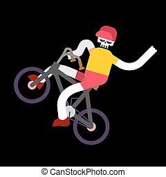 bmx., squelette, crâne, garçon, bicycle., vélo, rouler, squelettes