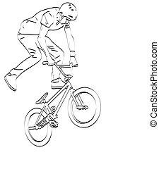 bmx stunt cyclist line art