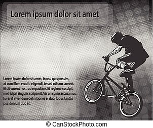 BMX stunt cyclist over abstract background with space for text