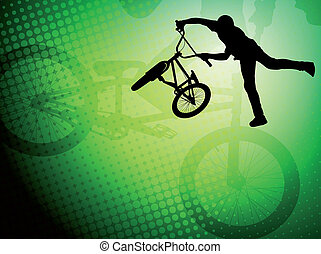 bmx stunt cyclist silhouette on the abstract background -...
