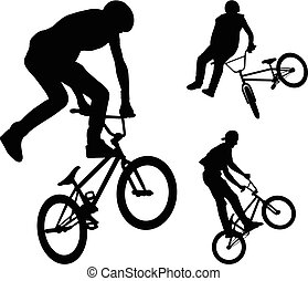 bmx stunt cyclists silhouettes - vector