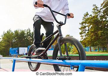 BMX Stunt on Rail