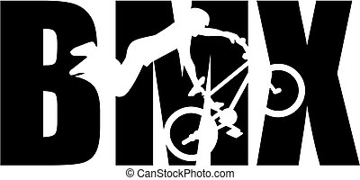 BMX word with silhouette cutout