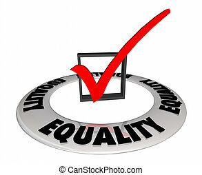 boîte, égalité, illustration, marque, traitement, équitable, chèque, 3d