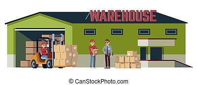 boîte, élévateur, marchandises, pitman, industrie, palettes, ensemble, carton, collé, acceptation, vecteur, plat, transport, entrepôt, opérations, bâtiment., beige, logistique, expédition, chargeur, dessin animé, en mouvement