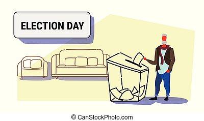 boîte, électeur, croquis, concept, entiers, griffonnage, vote, caractère, jour, personne agee, liste, longueur, papier, mettre, élection, pendant, horizontal, mâle, vote, désinvolte, homme