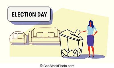 boîte, électeur, croquis, concept, femme, griffonnage, caractère, longueur, papier, élégant, liste, entiers, mettre, élection, femme, femme affaires, pendant, horizontal, vote, vote, jour