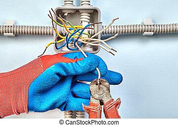 boîte, électrique, wires., jonction, installation