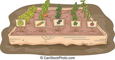 boîte, élevé, étiquettes, jardin