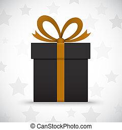boîte, étoiles, cadeau, arrière-plan noir, blanc