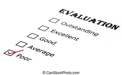 boîte, évaluation, chèque