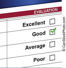 boîte, évaluation, liste, chèque