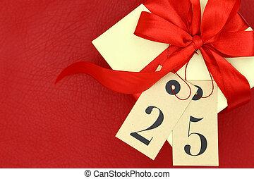 boîte, 25, don étiquette, nombre, fond, rouges