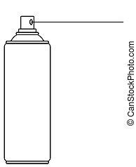 boîte aérosol, illustration, contour