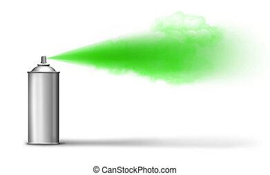 boîte aérosol, pulvérisation, vert
