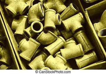 boîte, accessoires, métal, haut, tuyau, entassé, plomberie