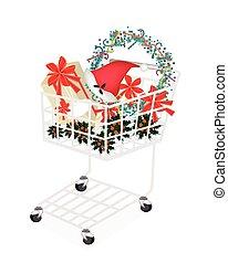 boîte, achats, cadeau, charrette, article, noël
