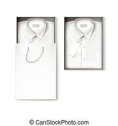 boîte, achats, chemise, classique, hommes, étiquette, ...