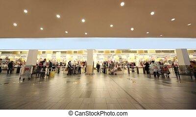 boîte, achats, gens bureau, payer, supermarché