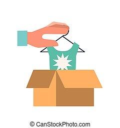 boîte, achats, possession main, ligne, carton, vêtements