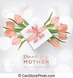 boîte, affiche, carte don, aviateur, mères, salutation, illustration, vente, tulipe, flowers., vecteur, conception, mère, brochure, bannière, template., jour, heureux