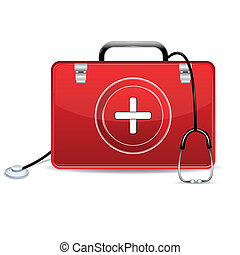 boîte, aide, stéthoscope, premier