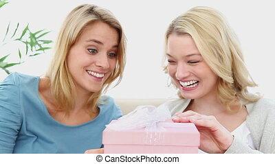 boîte, ami, cadeau, ouverture, femme