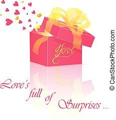 boîte, amour, cadeau